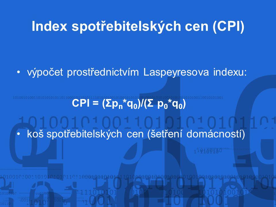 Index spotřebitelských cen (CPI) výpočet prostřednictvím Laspeyresova indexu: CPI = (Σp n *q 0 )/(Σ p 0 *q 0 ) koš spotřebitelských cen (šetření domácností)