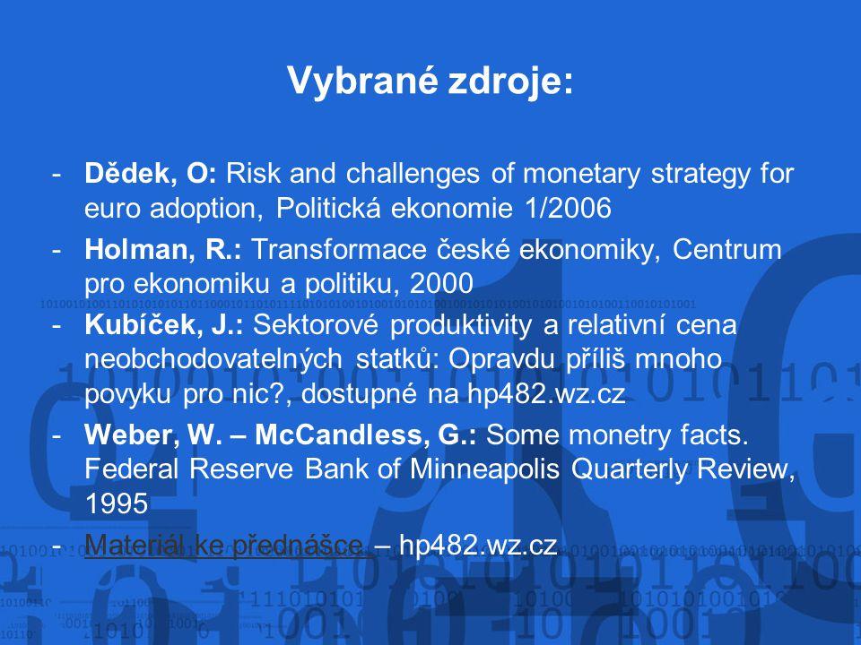 Vybrané zdroje: -Dědek, O: Risk and challenges of monetary strategy for euro adoption, Politická ekonomie 1/2006 -Holman, R.: Transformace české ekono