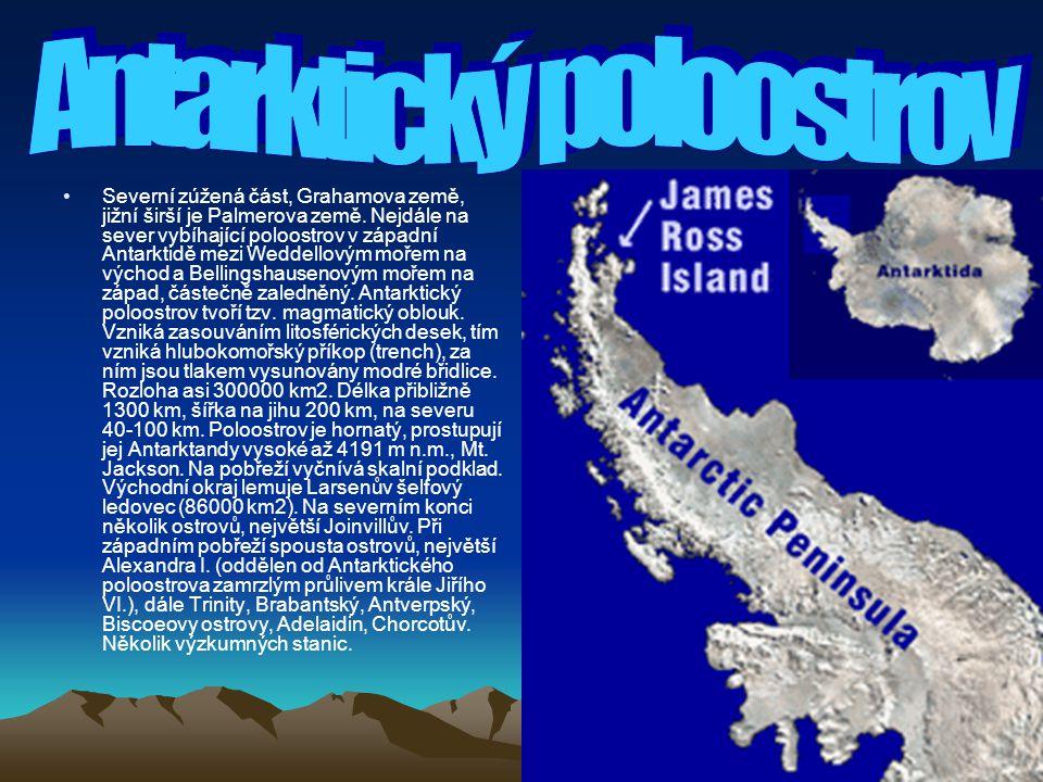 Severní zúžená část, Grahamova země, jižní širší je Palmerova země. Nejdále na sever vybíhající poloostrov v západní Antarktidě mezi Weddellovým mořem