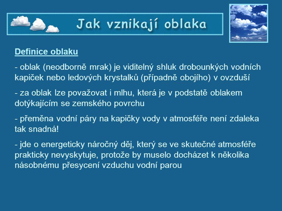 Jak vznikají oblaka – Definice oblaku Definice oblaku - oblak (neodborně mrak) je viditelný shluk drobounkých vodních kapiček nebo ledových krystalků