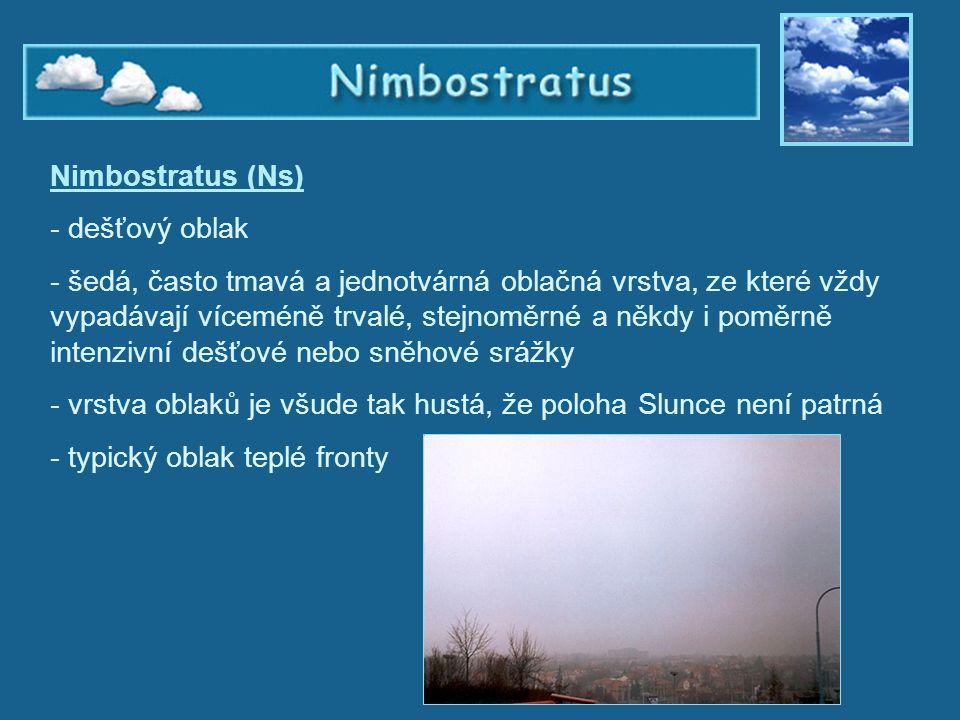 Nimbostratus Nimbostratus (Ns) - dešťový oblak - šedá, často tmavá a jednotvárná oblačná vrstva, ze které vždy vypadávají víceméně trvalé, stejnoměrné