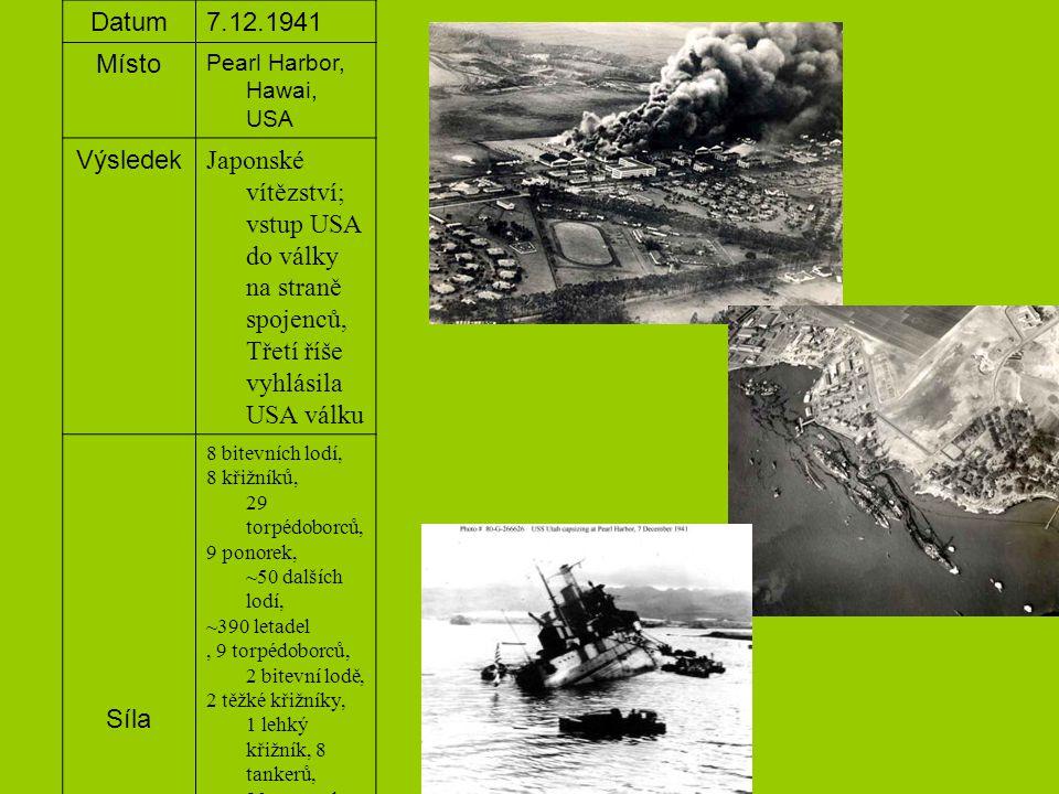 Datum7.12.1941 Místo Pearl Harbor, Hawai, USA Výsledek Japonské vítězství; vstup USA do války na straně spojenců, Třetí říše vyhlásila USA válku Síla 8 bitevních lodí, 8 křižníků, 29 torpédoborců, 9 ponorek, ~50 dalších lodí, ~390 letadel, 9 torpédoborců, 2 bitevní lodě, 2 těžké křižníky, 1 lehký křižník, 8 tankerů, 23 ponorek, 5 trpasličích ponorek, 441 letadel