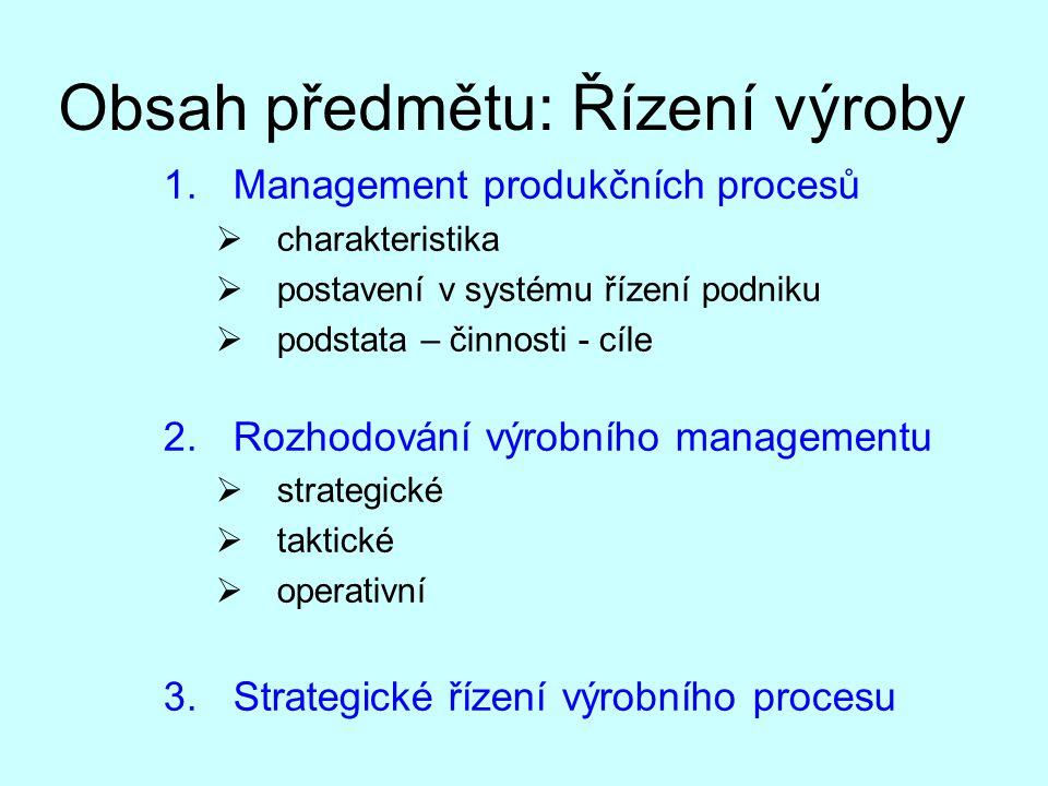 Obsah předmětu: Řízení výroby 1.Management produkčních procesů  charakteristika  postavení v systému řízení podniku  podstata – činnosti - cíle 2.R