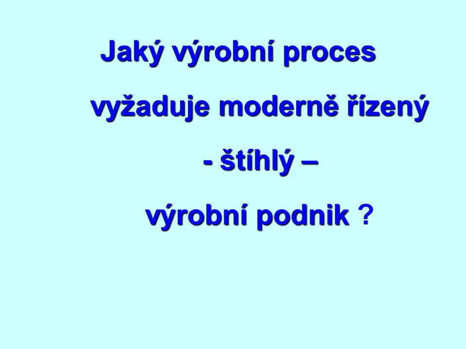 Jaký výrobní proces vyžaduje moderně řízený - štíhlý – výrobní podnik Jaký výrobní proces vyžaduje moderně řízený - štíhlý – výrobní podnik ?