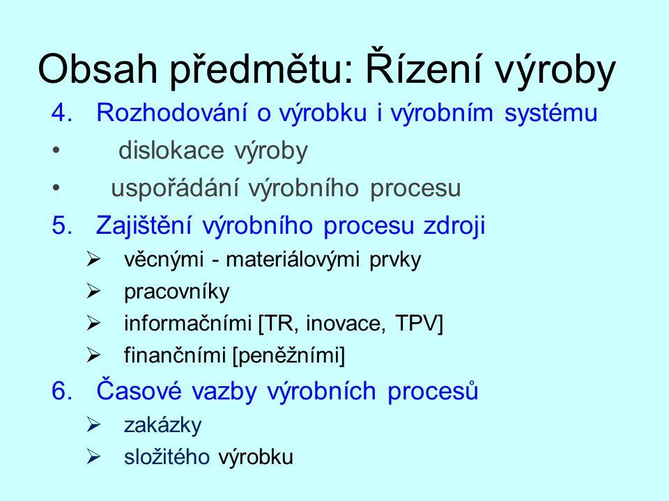Obsah předmětu: Řízení výroby 4.Rozhodování o výrobku i výrobním systému dislokace výroby uspořádání výrobního procesu 5.Zajištění výrobního procesu z