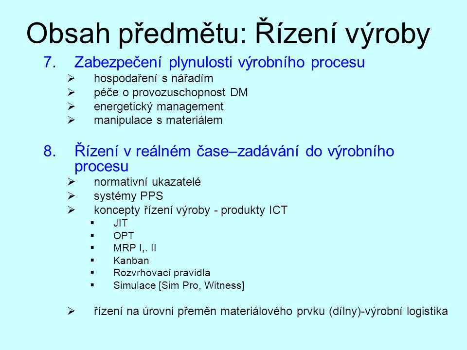 Obsah předmětu: Řízení výroby 7.Zabezpečení plynulosti výrobního procesu  hospodaření s nářadím  péče o provozuschopnost DM  energetický management