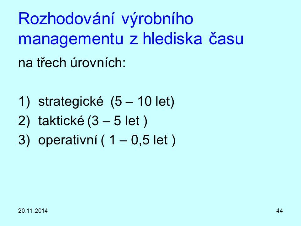 20.11.201444 Rozhodování výrobního managementu z hlediska času na třech úrovních: 1)strategické (5 – 10 let) 2)taktické (3 – 5 let ) 3)operativní ( 1
