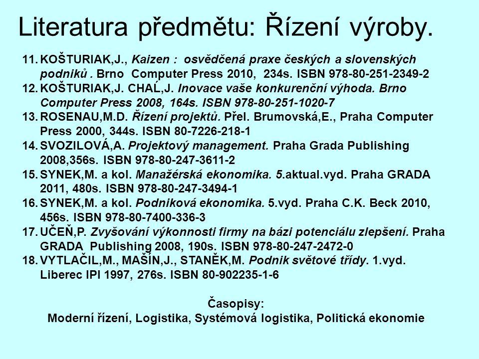 Literatura předmětu: Řízení výroby. 11.KOŠTURIAK,J., Kaizen : osvědčená praxe českých a slovenských podniků. Brno Computer Press 2010, 234s. ISBN 978-