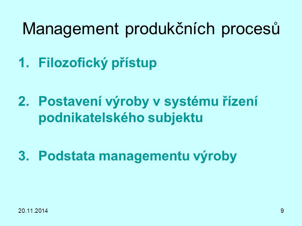 Management produkčních procesů 1.Filozofický přístup - charakteristika  požadavky moderně řízené firmy na výrobní úsek marketingová koncepce přizpůsobivost trhu vytváří předpoklady konkurenční výhody využívá infrastrukturní nástroje a vazby  požadavky na průběh výrobního procesu z hlediska: výr.