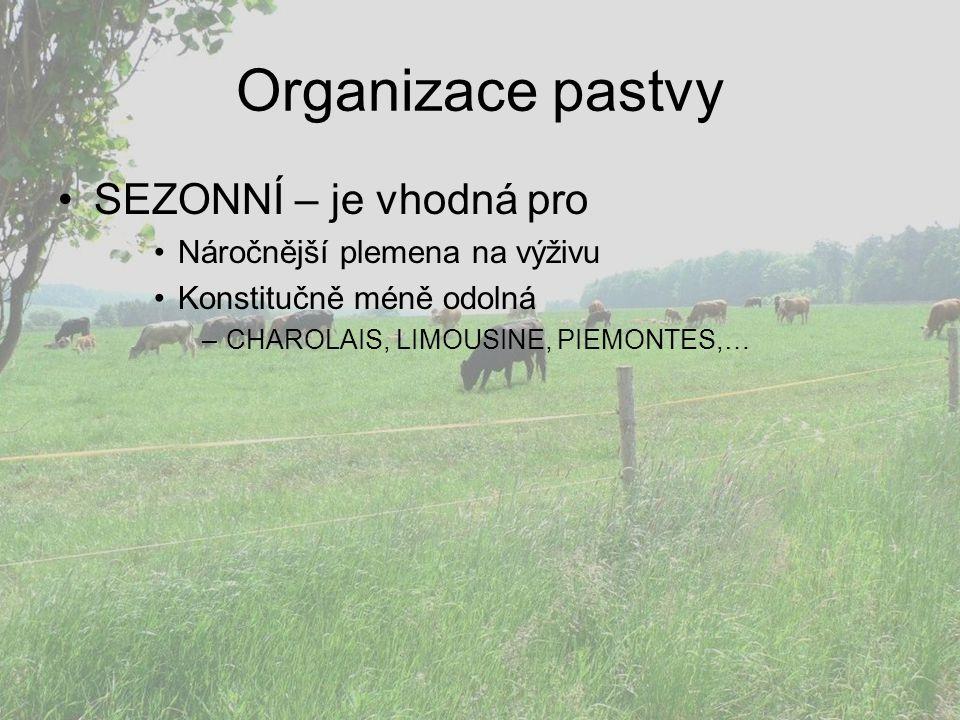 Organizace pastvy SEZONNÍ – je vhodná pro Náročnější plemena na výživu Konstitučně méně odolná –CHAROLAIS, LIMOUSINE, PIEMONTES,…