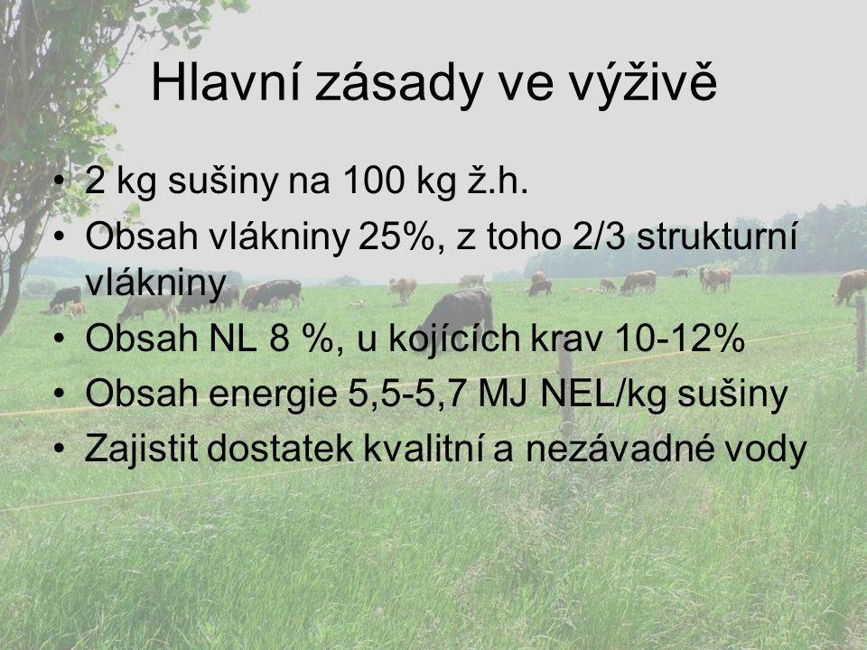 Hlavní zásady ve výživě 2 kg sušiny na 100 kg ž.h. Obsah vlákniny 25%, z toho 2/3 strukturní vlákniny Obsah NL 8 %, u kojících krav 10-12% Obsah energ
