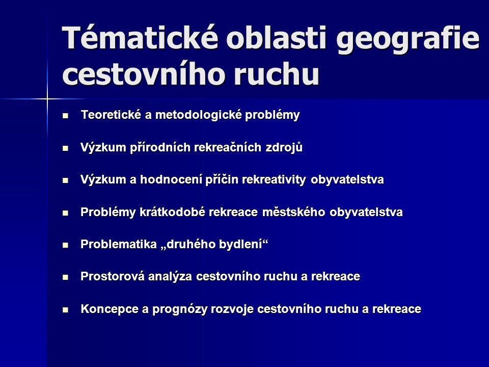 Tématické oblasti geografie cestovního ruchu Teoretické a metodologické problémy Teoretické a metodologické problémy Výzkum přírodních rekreačních zdr