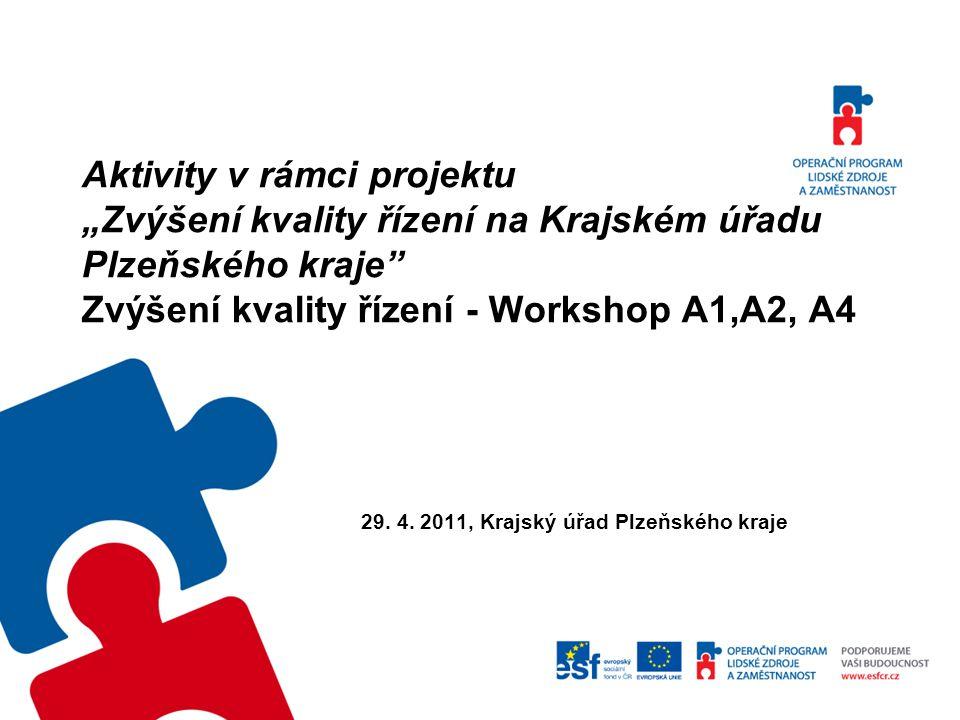"""Aktivity v rámci projektu """"Zvýšení kvality řízení na Krajském úřadu Plzeňského kraje Zvýšení kvality řízení - Workshop A1,A2, A4 29."""