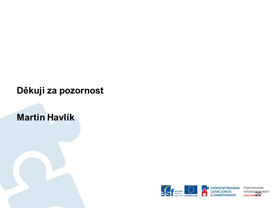 Děkuji za pozornost Martin Havlík 20