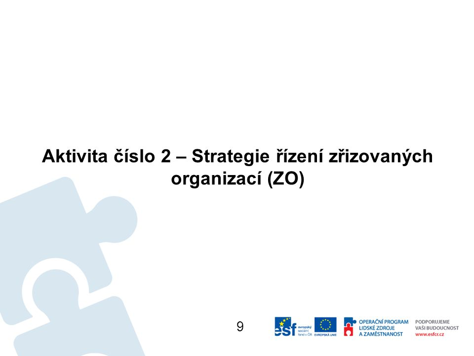 Aktivita číslo 2 – Strategie řízení zřizovaných organizací (ZO) 9
