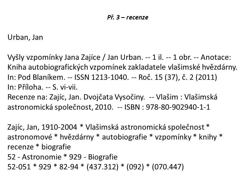 Př. 3 – recenze Urban, Jan Vyšly vzpomínky Jana Zajíce / Jan Urban.