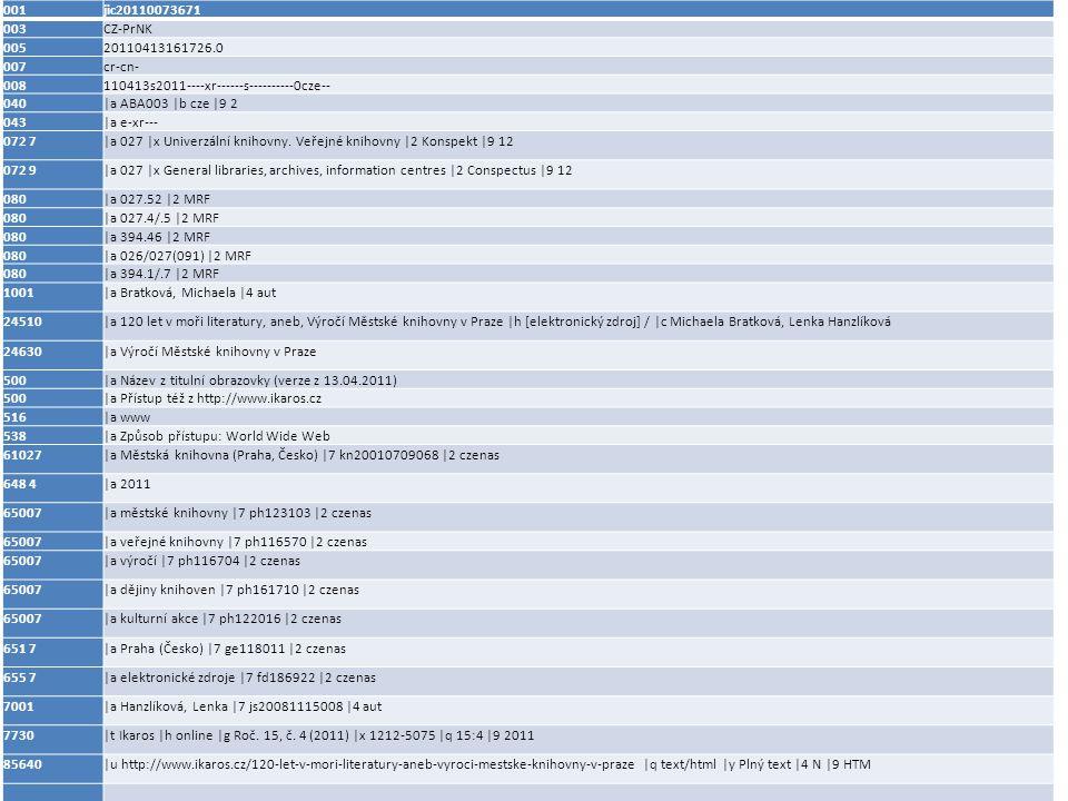001 jic20110073671 003 CZ-PrNK 005 20110413161726.0 007 cr-cn- 008 110413s2011----xr------s----------0cze-- 040 |a ABA003 |b cze |9 2 043 |a e-xr--- 072 7 |a 027 |x Univerzální knihovny.