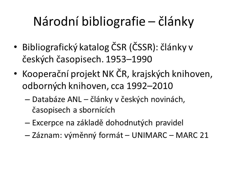 Národní bibliografie – články Bibliografický katalog ČSR (ČSSR): články v českých časopisech.