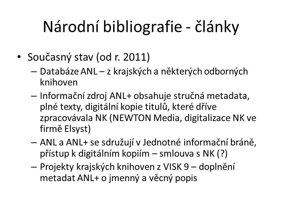 Národní bibliografie - články Současný stav (od r.
