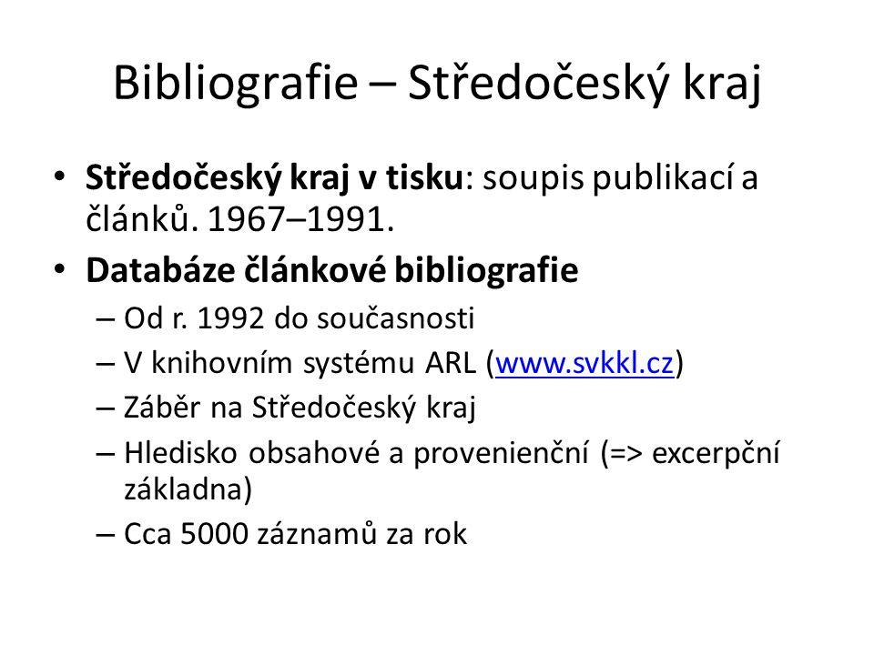 Bibliografie – Středočeský kraj Středočeský kraj v tisku: soupis publikací a článků.