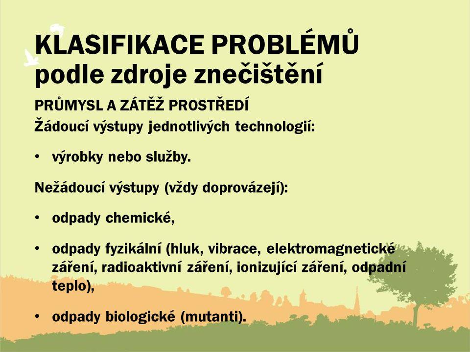 KLASIFIKACE PROBLÉMŮ podle zdroje znečištění PRŮMYSL A ZÁTĚŽ PROSTŘEDÍ Žádoucí výstupy jednotlivých technologií: výrobky nebo služby.