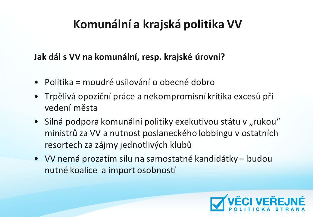 Komunální a krajská politika VV Jak dál s VV na komunální, resp.