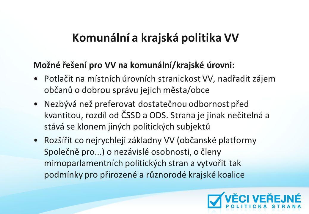 Komunální a krajská politika VV Možné řešení pro VV na komunální/krajské úrovni: Potlačit na místních úrovních stranickost VV, nadřadit zájem občanů o dobrou správu jejich města/obce Nezbývá než preferovat dostatečnou odbornost před kvantitou, rozdíl od ČSSD a ODS.