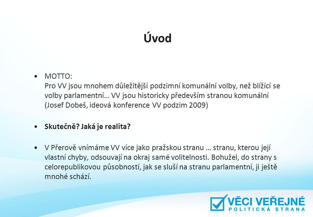 Úvod MOTTO: Pro VV jsou mnohem důležitější podzimní komunální volby, než blížící se volby parlamentní… VV jsou historicky především stranou komunální (Josef Dobeš, ideová konference VV podzim 2009) Skutečně.
