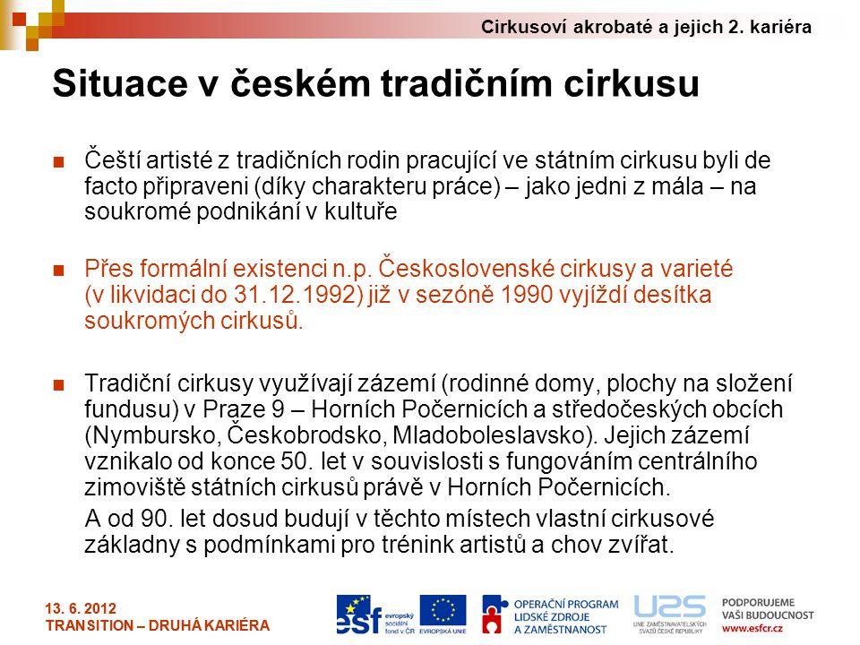 Cirkusoví akrobaté a jejich 2. kariéra 13. 6. 2012 TRANSITION – DRUHÁ KARIÉRA Situace v českém tradičním cirkusu Čeští artisté z tradičních rodin prac