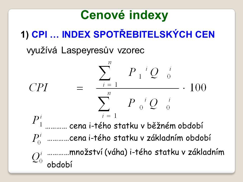 Cenové indexy 1) CPI … INDEX SPOTŘEBITELSKÝCH CEN využívá Laspeyresův vzorec ………… cena i-tého statku v běžném období …………množství (váha) i-tého statku