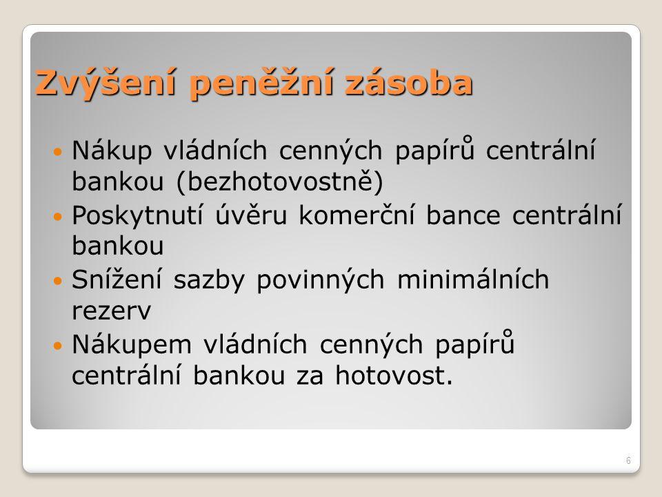 Zvýšení peněžní zásoba Nákup vládních cenných papírů centrální bankou (bezhotovostně) Poskytnutí úvěru komerční bance centrální bankou Snížení sazby p