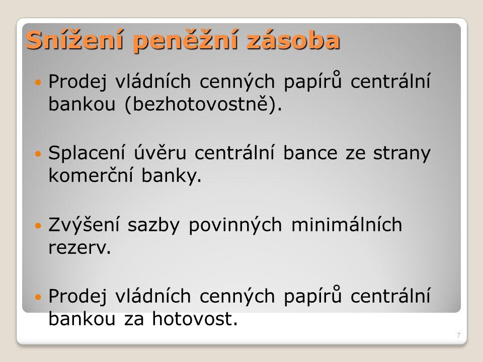 Snížení peněžní zásoba Prodej vládních cenných papírů centrální bankou (bezhotovostně). Splacení úvěru centrální bance ze strany komerční banky. Zvýše