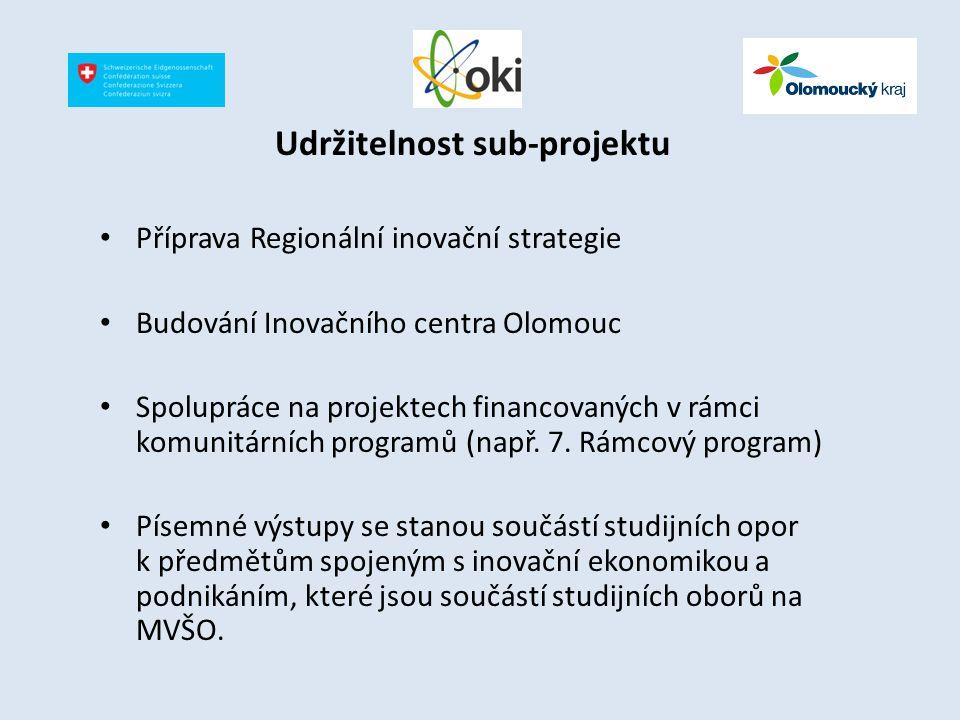 Udržitelnost sub-projektu Příprava Regionální inovační strategie Budování Inovačního centra Olomouc Spolupráce na projektech financovaných v rámci kom