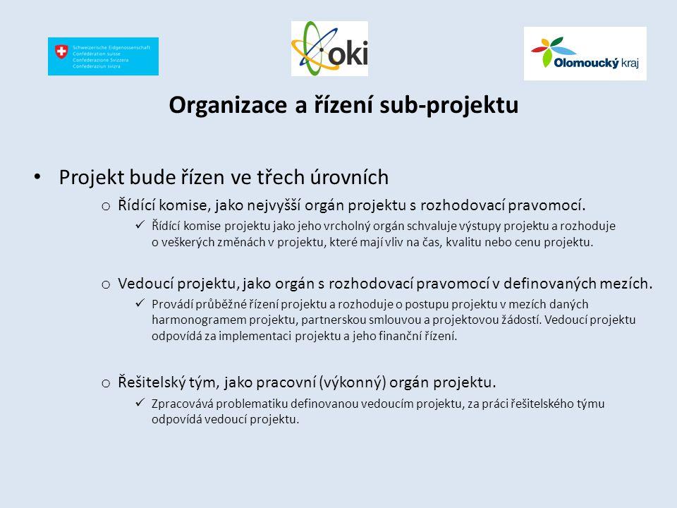 Organizace a řízení sub-projektu Projekt bude řízen ve třech úrovních o Řídící komise, jako nejvyšší orgán projektu s rozhodovací pravomocí. Řídící ko
