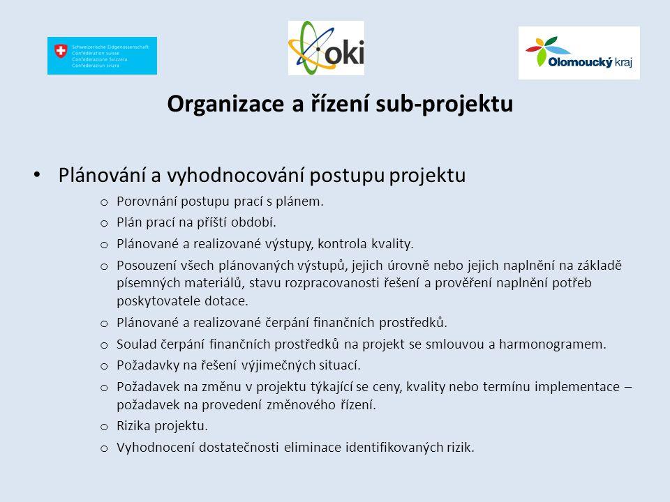 Organizace a řízení sub-projektu Plánování a vyhodnocování postupu projektu o Porovnání postupu prací s plánem. o Plán prací na příští období. o Pláno