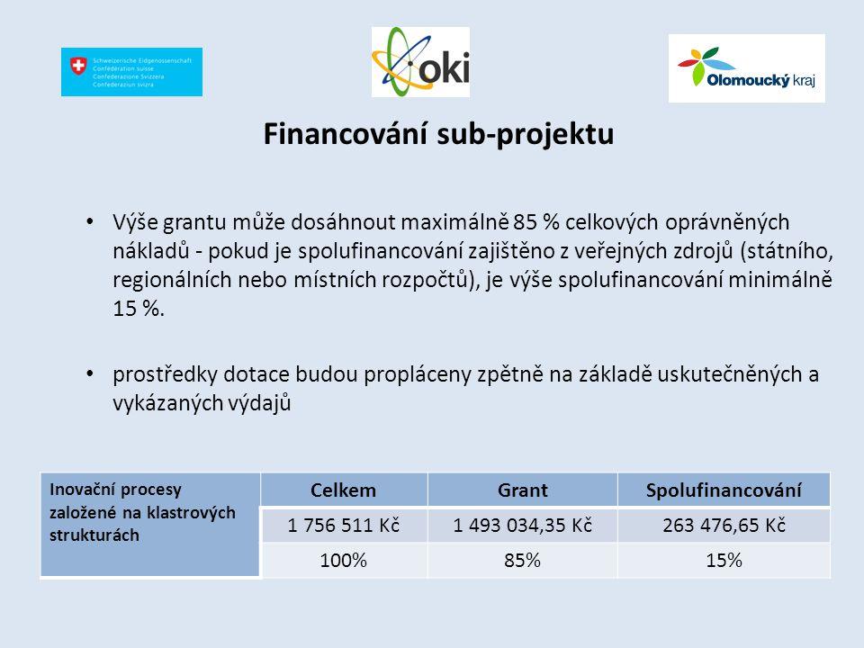 Financování sub-projektu Výše grantu může dosáhnout maximálně 85 % celkových oprávněných nákladů - pokud je spolufinancování zajištěno z veřejných zdr
