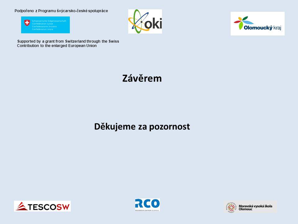Závěrem Děkujeme za pozornost Podpořeno z Programu švýcarsko-české spolupráce Supported by a grant from Switzerland through the Swiss Contribution to