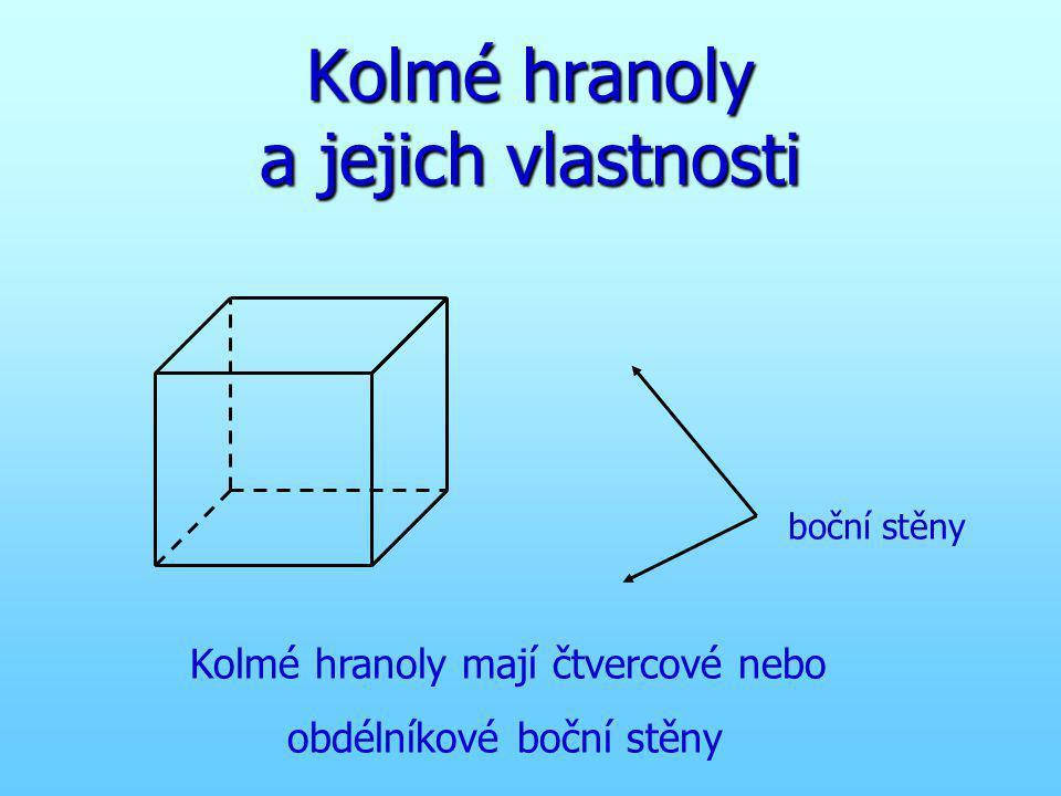 Kolmé hranoly a jejich vlastnosti boční stěny Kolmé hranoly mají čtvercové nebo obdélníkové boční stěny