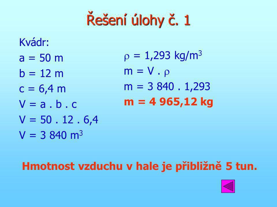 Řešení úlohy č. 1 Kvádr: a = 50 m b = 12 m c = 6,4 m V = a. b. c V = 50. 12. 6,4 V = 3 840 m 3  = 1,293 kg/m 3 m = V.  m = 3 840. 1,293 m = 4 965,12