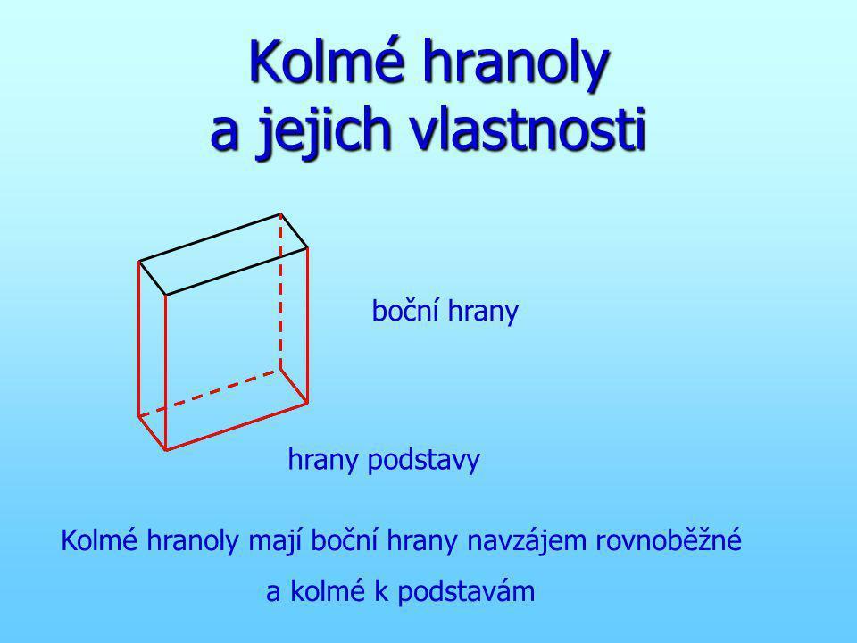 Kolmé hranoly a jejich vlastnosti hrany podstavy boční hrany Kolmé hranoly mají boční hrany navzájem rovnoběžné a kolmé k podstavám