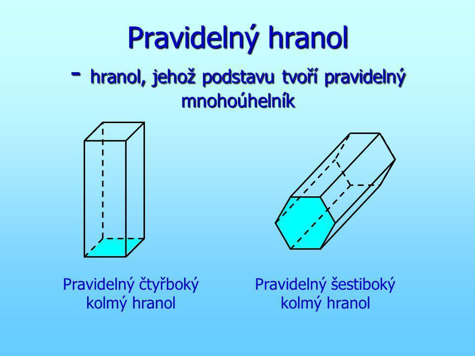 Pravidelný hranol - hranol, jehož podstavu tvoří pravidelný mnohoúhelník Pravidelný čtyřboký kolmý hranol Pravidelný šestiboký kolmý hranol