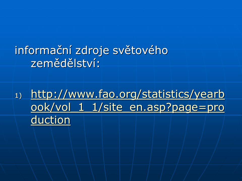 informační zdroje světového zemědělství: 1) http://www.fao.org/statistics/yearb ook/vol_1_1/site_en.asp?page=pro duction http://www.fao.org/statistics