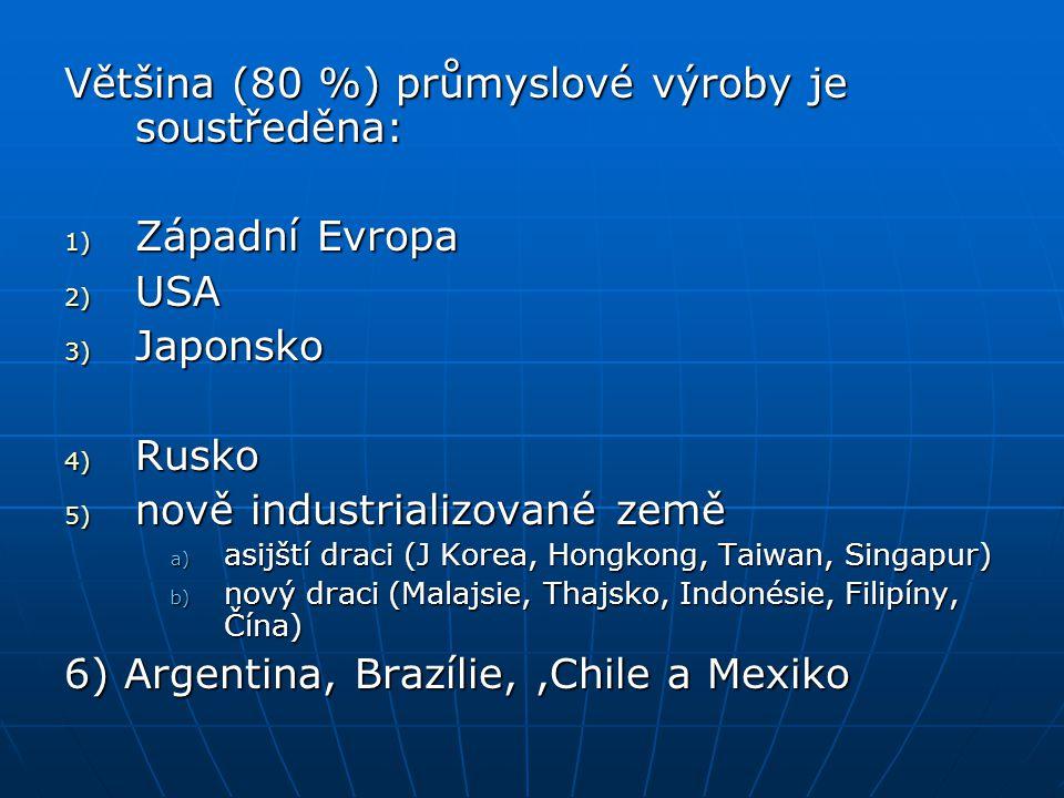 Většina (80 %) průmyslové výroby je soustředěna: 1) Západní Evropa 2) USA 3) Japonsko 4) Rusko 5) nově industrializované země a) asijští draci (J Kore