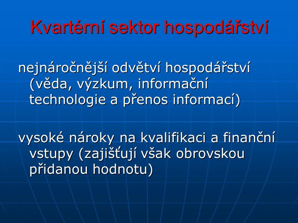 Kvartérní sektor hospodářství nejnáročnější odvětví hospodářství (věda, výzkum, informační technologie a přenos informací) vysoké nároky na kvalifikac