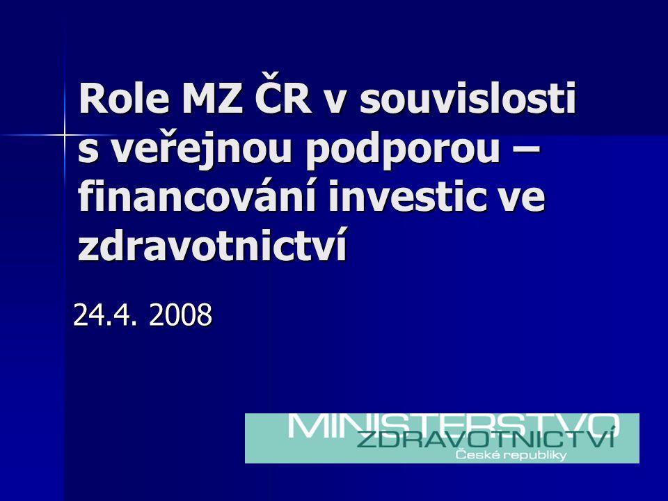 Role MZ ČR v souvislosti s veřejnou podporou – financování investic ve zdravotnictví 24.4. 2008