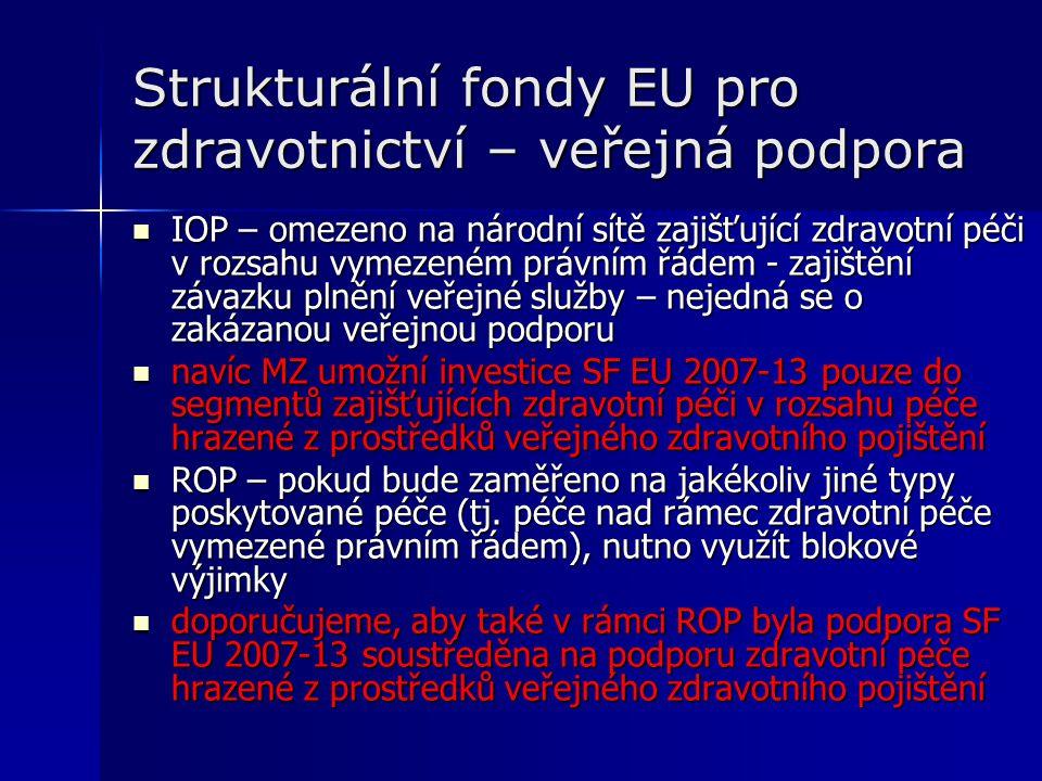 Strukturální fondy EU pro zdravotnictví – veřejná podpora IOP – omezeno na národní sítě zajišťující zdravotní péči v rozsahu vymezeném právním řádem - zajištění závazku plnění veřejné služby – nejedná se o zakázanou veřejnou podporu IOP – omezeno na národní sítě zajišťující zdravotní péči v rozsahu vymezeném právním řádem - zajištění závazku plnění veřejné služby – nejedná se o zakázanou veřejnou podporu navíc MZ umožní investice SF EU 2007-13 pouze do segmentů zajišťujících zdravotní péči v rozsahu péče hrazené z prostředků veřejného zdravotního pojištění navíc MZ umožní investice SF EU 2007-13 pouze do segmentů zajišťujících zdravotní péči v rozsahu péče hrazené z prostředků veřejného zdravotního pojištění ROP – pokud bude zaměřeno na jakékoliv jiné typy poskytované péče (tj.