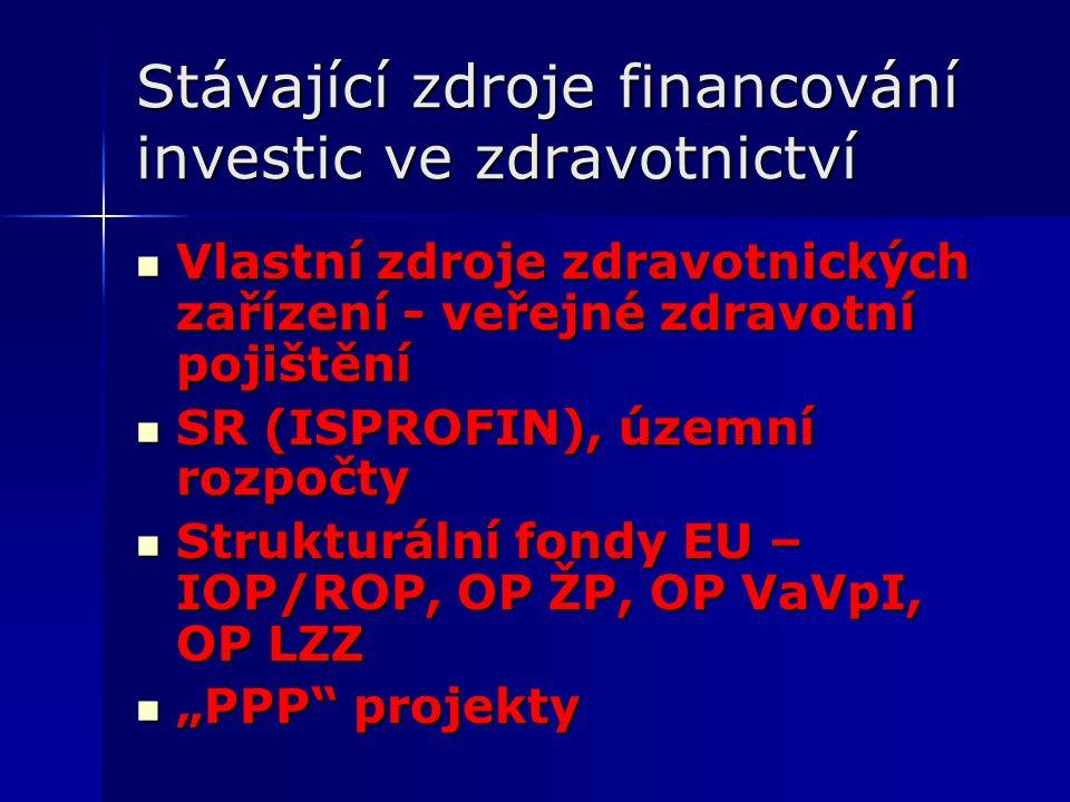"""Stávající zdroje financování investic ve zdravotnictví Vlastní zdroje zdravotnických zařízení - veřejné zdravotní pojištění Vlastní zdroje zdravotnických zařízení - veřejné zdravotní pojištění SR (ISPROFIN), územní rozpočty SR (ISPROFIN), územní rozpočty Strukturální fondy EU – IOP/ROP, OP ŽP, OP VaVpI, OP LZZ Strukturální fondy EU – IOP/ROP, OP ŽP, OP VaVpI, OP LZZ """"PPP projekty """"PPP projekty"""