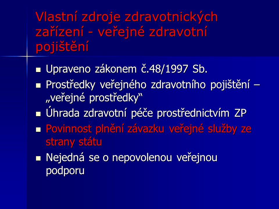 Vlastní zdroje zdravotnických zařízení - veřejné zdravotní pojištění Upraveno zákonem č.48/1997 Sb.