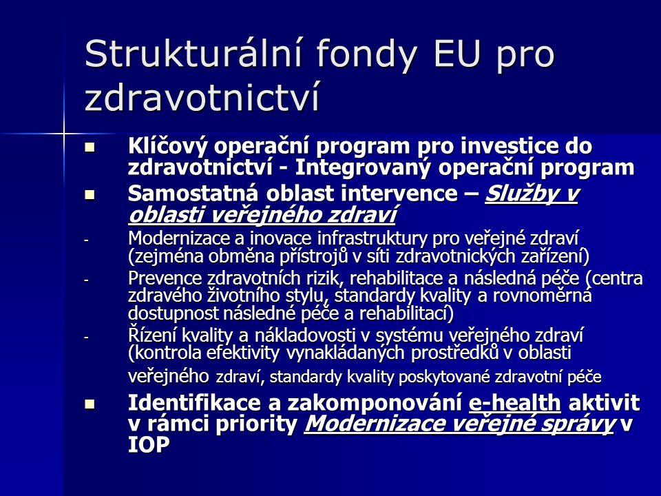 Strukturální fondy EU pro zdravotnictví Klíčový operační program pro investice do zdravotnictví - Integrovaný operační program Klíčový operační program pro investice do zdravotnictví - Integrovaný operační program Samostatná oblast intervence – Služby v oblasti veřejného zdraví Samostatná oblast intervence – Služby v oblasti veřejného zdraví - Modernizace a inovace infrastruktury pro veřejné zdraví (zejména obměna přístrojů v síti zdravotnických zařízení) - Prevence zdravotních rizik, rehabilitace a následná péče (centra zdravého životního stylu, standardy kvality a rovnoměrná dostupnost následné péče a rehabilitací) - Řízení kvality a nákladovosti v systému veřejného zdraví (kontrola efektivity vynakládaných prostředků v oblasti veřejného zdraví, standardy kvality poskytované zdravotní péče Identifikace a zakomponování e-health aktivit v rámci priority Modernizace veřejné správy v IOP Identifikace a zakomponování e-health aktivit v rámci priority Modernizace veřejné správy v IOP