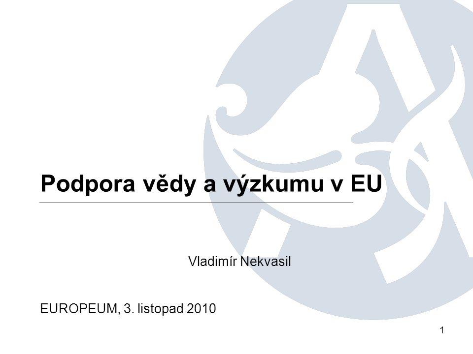 1 Podpora vědy a výzkumu v EU Vladimír Nekvasil EUROPEUM, 3. listopad 2010